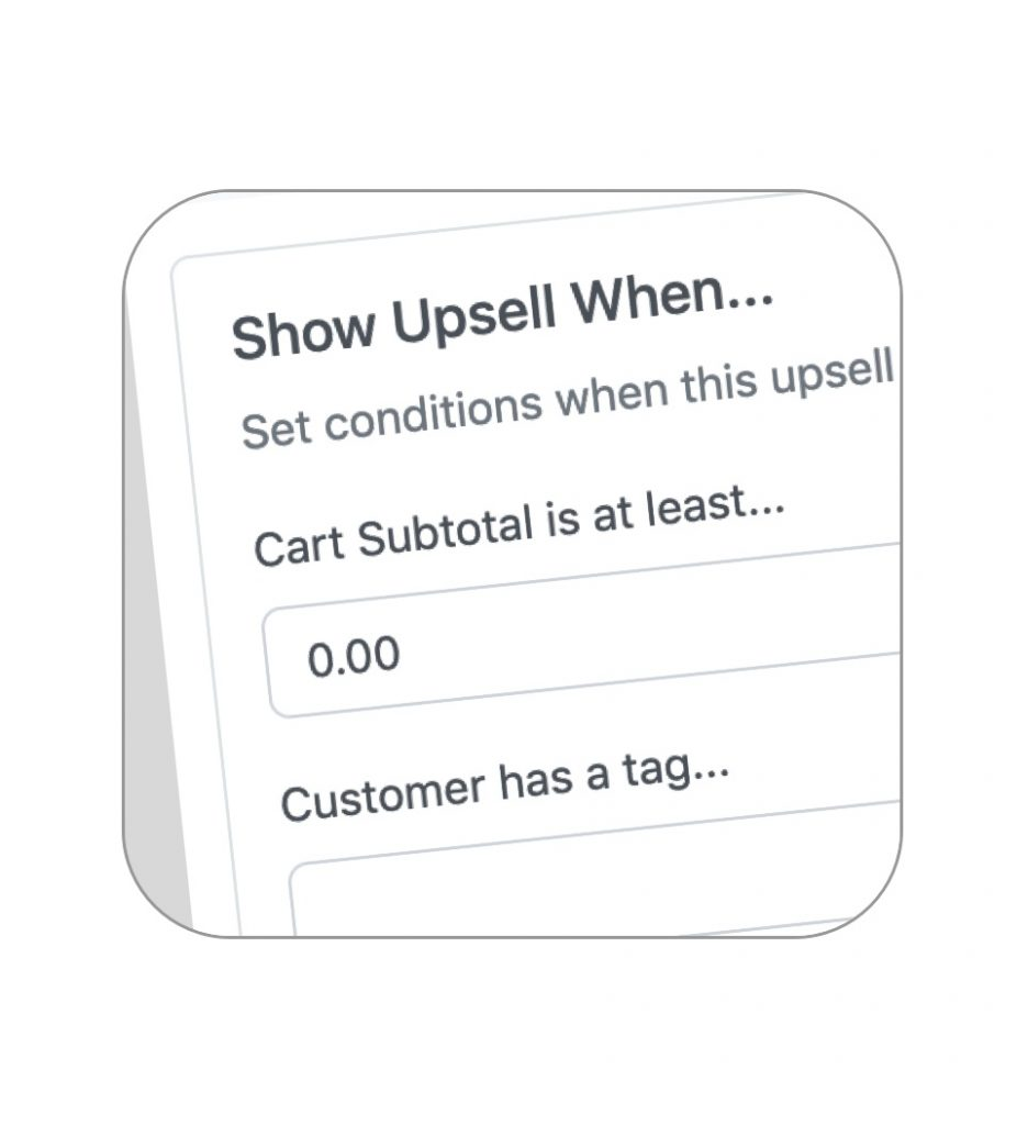 Set upsell conditions