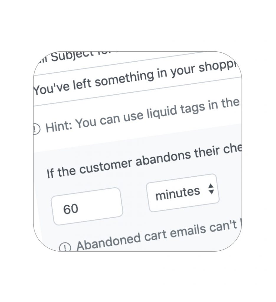 Customizable abandoned cart email templates