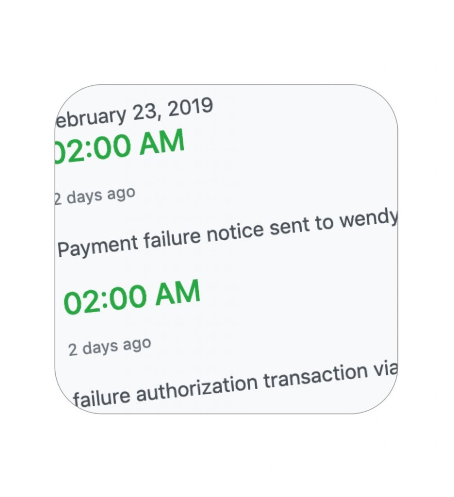 Receive payment failure notifications